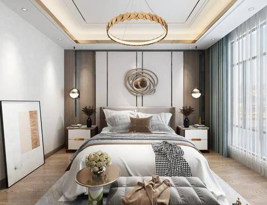 现代, 卧室, 双人床, 床头柜, 吊灯, 墙饰, 装饰画