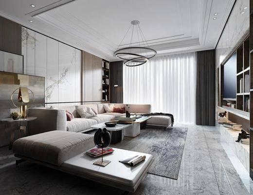 客厅, 沙发组合, 沙发茶几组合, 书柜组合, 装饰柜组合, 现代轻奢