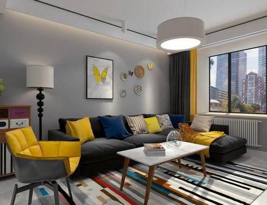 北欧客厅, 客厅, 沙发组合, 现代沙发, 餐具, 单椅