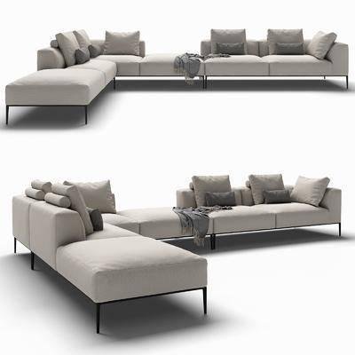 多人沙发, 现代沙发, 布艺沙发, 转角沙发, 现代布艺转角沙发, 纯色沙发, 现代