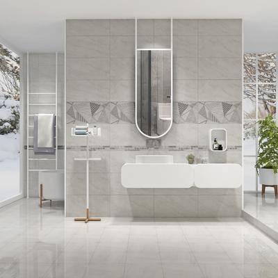 卫生间, 镜子, 洗手台, 毛巾架, 盆栽, 现代, 极简