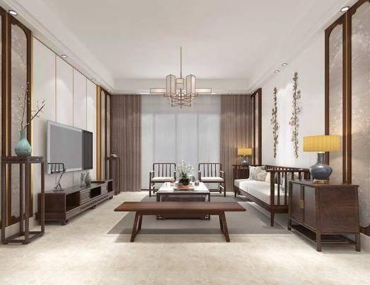 客厅, 餐厅, 多人沙发, 边几, 台灯, 吊灯, 墙饰, 单人椅, 茶几, 装饰架, 电视柜, 装饰柜, 边柜, 餐桌, 餐椅, 新中式