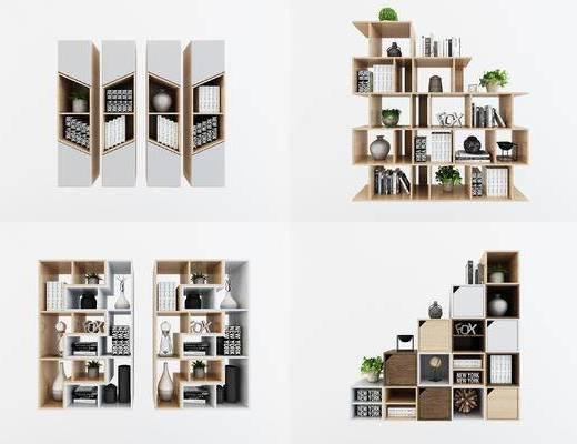 现代书柜, 展示柜, 边柜, 装饰柜, 装饰品, 摆设品