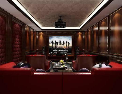 影音室, 单人沙发, 多人沙发, 茶几, 投影仪, 装饰柜, 电视柜, 新古典