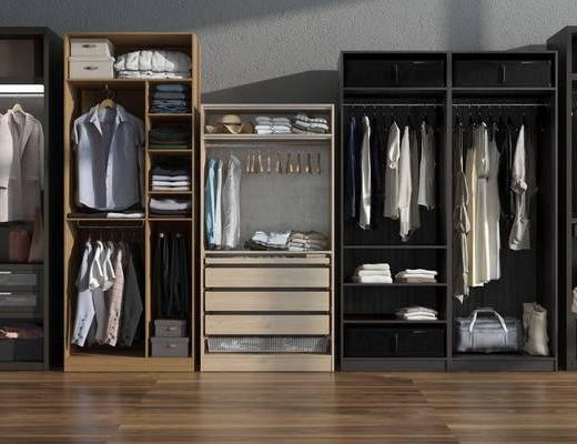 衣柜组合, 衣柜, 现代, 衣服, 服饰, 服装