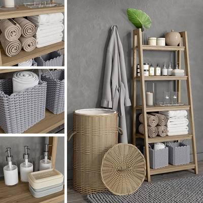 卫浴, 毛巾, 地毯, 日用品, 化妆品, 卫浴柜, 柜架, 毛巾架, 篮子, 浴袍