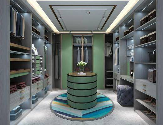 衣帽间, 衣柜, 服饰, 鞋子, 现代