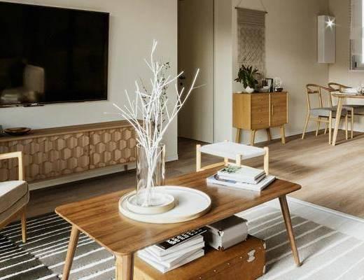 电视柜, 单椅, 茶几, 摆件组合, 餐桌, 边柜, 装饰画