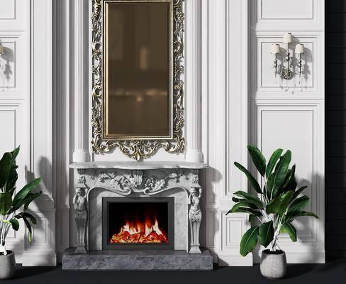 背景墻, 壁爐, 盆栽, 綠植植物, 壁燈組合, 歐式