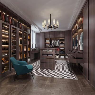 衣帽间, 吊灯, 衣柜, 衣服, 置物柜, 鞋子, 高跟鞋, 中岛柜, 单椅, 椅子, 现代