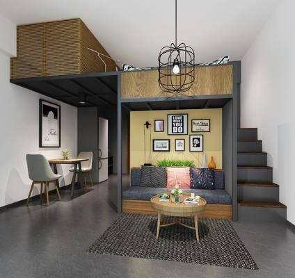 沙发组合, 单椅组合, 装饰挂画, 吊灯