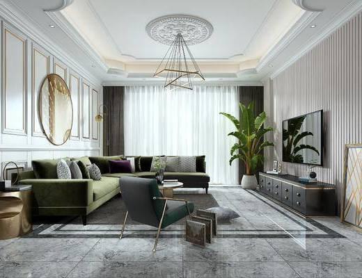 现代客厅, 轻奢客厅, 现代轻奢客厅, 客厅, 现代沙发, 沙发组合, 沙发茶几组合