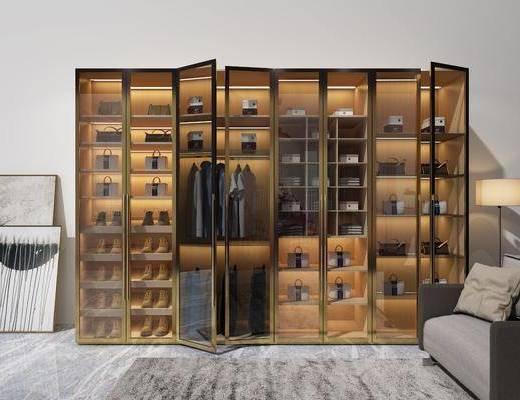 玻璃衣柜, 衣柜, 装饰柜, 双人沙发, 服饰, 装饰画, 挂画, 落地灯, 单人沙发, 现代