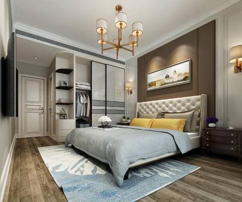 简美, 卧室, 主卧, 欧式, 简欧, 空间