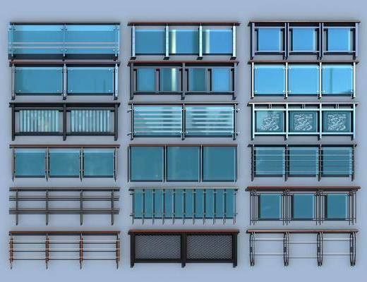 玻璃栏杆, 栏杆护栏, 护栏扶手, 现代