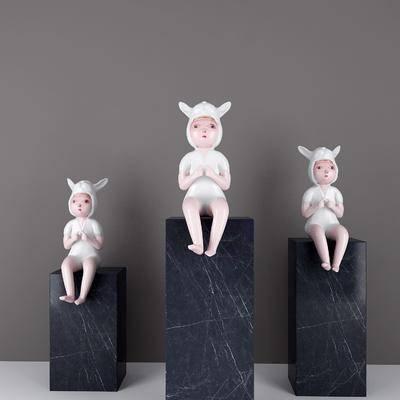 陶瓷娃娃, 摆件组合, 现代