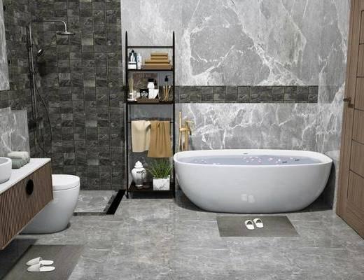 洗手盆, 浴缸, 马桶, 柜架组合