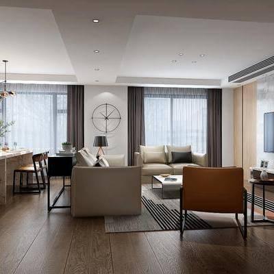 现代客餐厅, 现代, 客厅, 沙发, 椅子, 电视柜