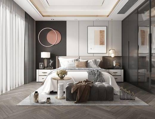 双人床, 墙饰, 装饰画, 床头柜, 台灯, 衣柜