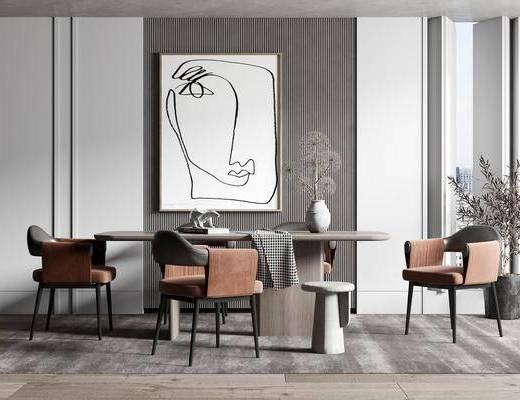 餐桌, 桌椅组合, 装饰画, 摆件, 花瓶