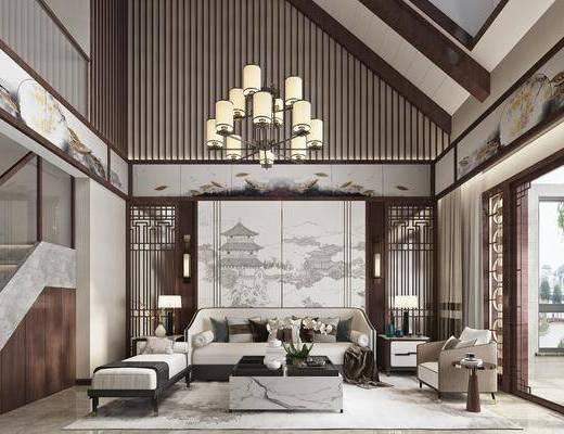 沙发组合, 吊灯, 背景墙, 茶几