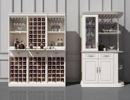 实木酒柜, 酒柜, 餐边酒柜, 装饰柜, 装饰品, 陈设品, 简欧