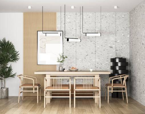 餐厅, 餐桌, 桌椅组合, 吊灯, 挂画, 植物