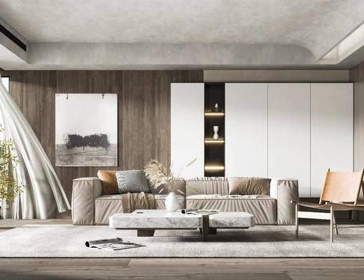 沙发组合, 抱枕, 茶几, 单椅, 背景墙, 挂画, 窗帘