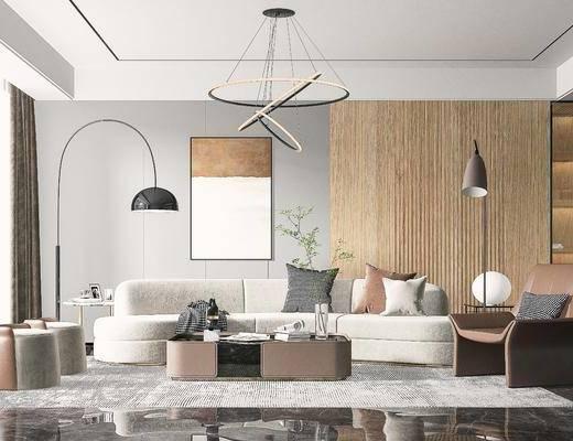 现代客厅, 沙发, 落地灯, 挂画