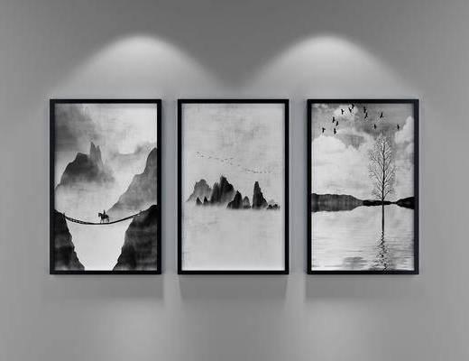 挂画, 装饰画, 新中式挂画, 风景画, 新中式