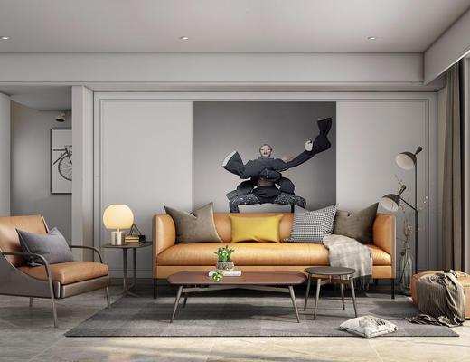 现代简约, 客厅, 沙发茶几组合, 植物, 台灯