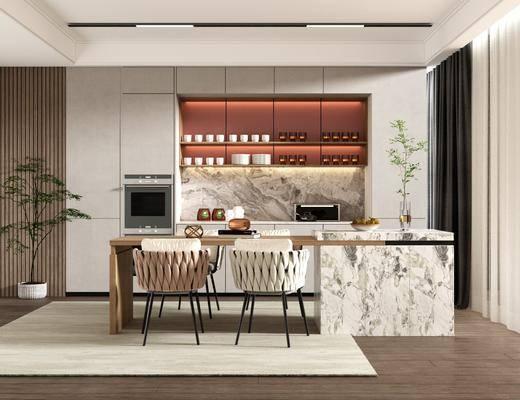 现代简约餐厅, 餐桌椅, 酒柜