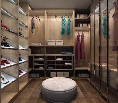 衣帽间, 服装鞋帽, 衣服, 衣柜, 现代衣帽间