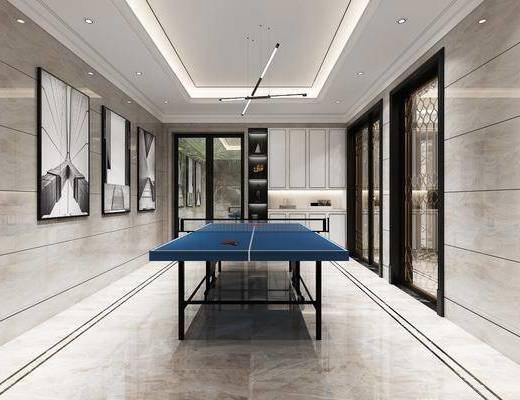乒乓球台, 装饰画, 吊灯, 置物柜