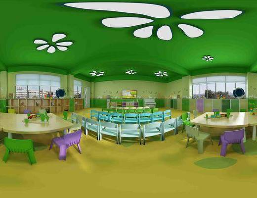 现代清沐幼儿园绿色主题教室, 糖果色单人椅, 桌椅组合, 置物架, 全景