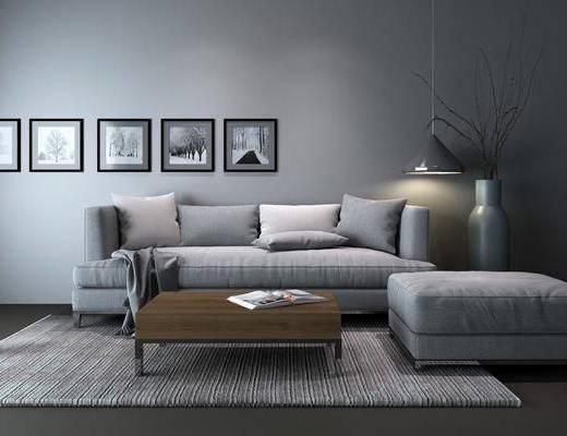 沙发组合, 多人沙发, 脚踏沙发, 茶几, 吊灯, 装饰画, 挂画, 花瓶, 干树枝, 照片墙, 现代