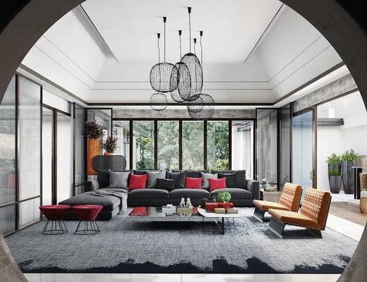 中式客厅, 沙发茶几组合, 吊灯, 客厅, 沙发组合