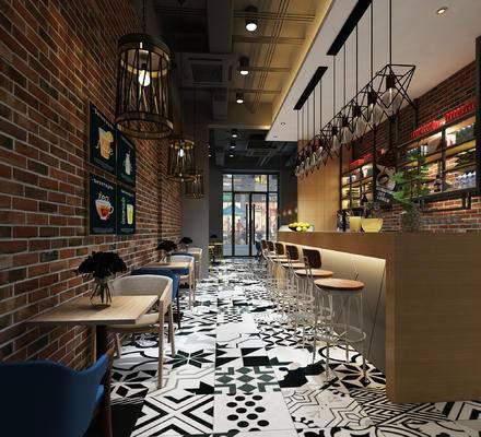 现代, 工业, 咖啡厅, 奶茶店, 3D模型, 吧台, 吧椅, 餐桌