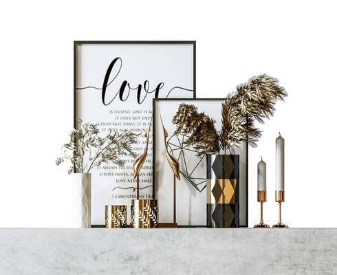 摆件组合, 装饰品, 花瓶, 植物