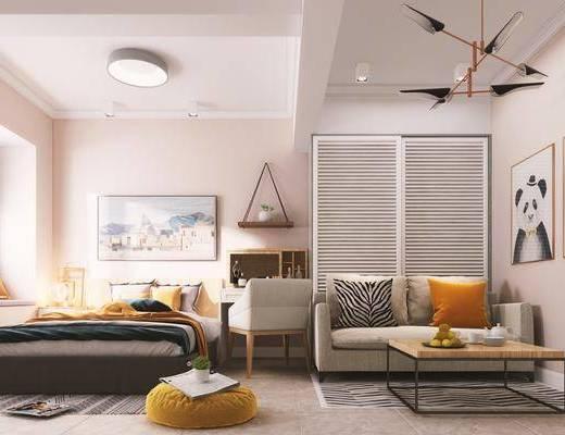公寓, 北欧公寓, 单身公寓, 沙发组合, 挂画, 床具组合, 茶几, 衣柜, 北欧