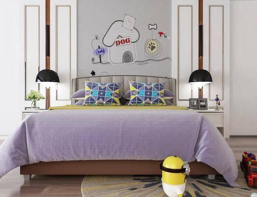 兒童床, 雙人床, 床頭柜, 吊燈, 玩具, 現代