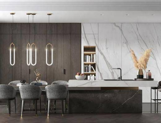 现代, 餐厅, 桌椅组合, 吧台