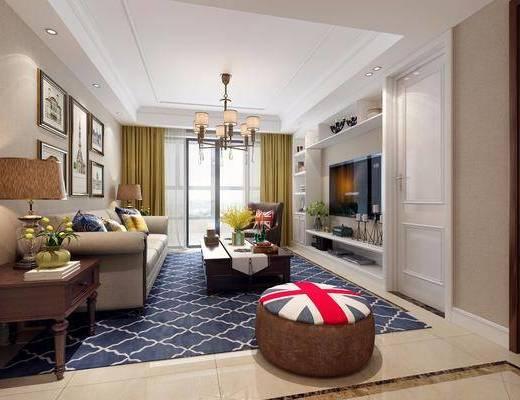 客厅, 多人沙发, 沙发脚踏, 边几, 台灯, 装饰柜, 边柜, 单人沙发, 茶几, 照片墙, 装饰画, 挂画, 吊灯, 装饰品, 陈设品, 摆件, 美式