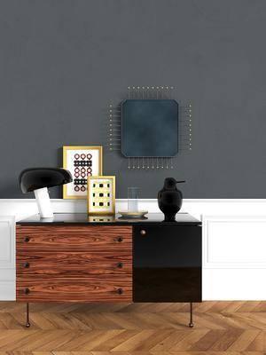 边柜, 装饰柜, 现代边柜, 摆件, 装饰品, 现代