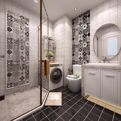 卫生间, 洗衣机, 洗手台, 马桶, 花洒, 现代