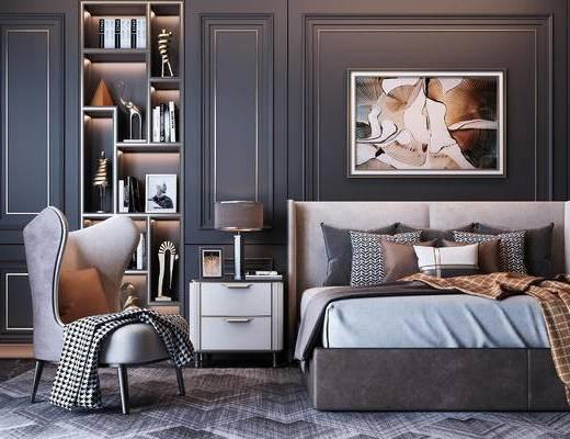 双人床, 轻奢双人床, 现代双人床