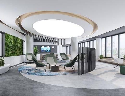 桌椅组合, 绿植墙, 单椅