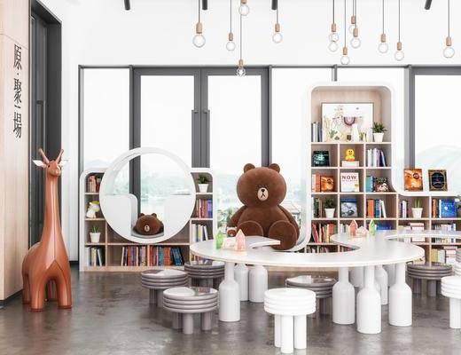 桌椅组合, 摇椅, 吊灯, 置物柜, 玩具, 装饰柜