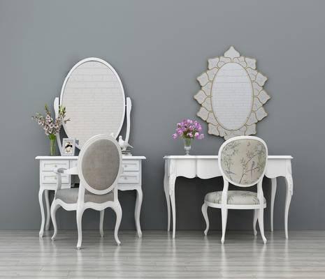 单椅, 梳妆台, 镜子, 花瓶, 陈设品, 摆件