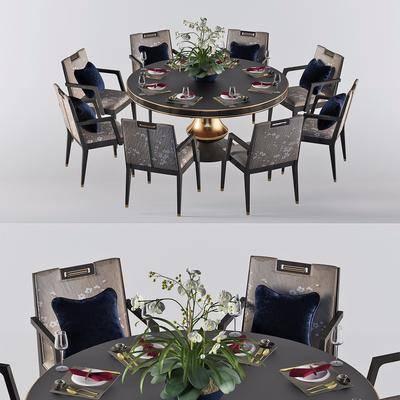 新中式餐桌3D模型, 桌椅组合, 餐具, 摆件组合